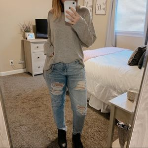Joan Vass Crewneck Button Up Back Sweater Size 2X